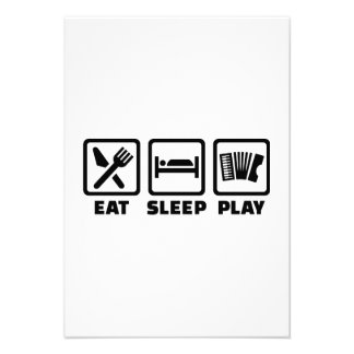 Eat Sleep Play Accordion Custom Invitations