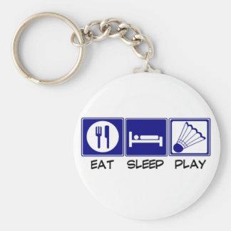 Eat, Sleep, Play Badminton Basic Round Button Key Ring