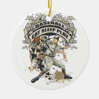Eat, Sleep, Play Baseball Christmas Ornament