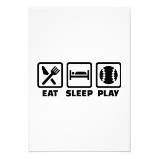 Eat Sleep play Baseball Invitations