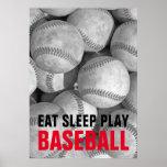 Eat Sleep Play Black & White Baseball Motivational Poster