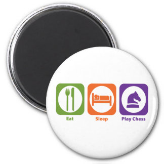 Eat Sleep Play Chess 6 Cm Round Magnet