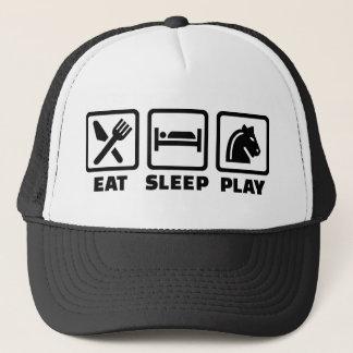 Eat sleep play chess trucker hat