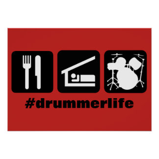 Eat Sleep Play Drums Icons Poster
