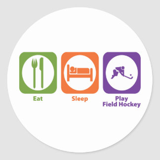 Eat Sleep Play Field Hockey Classic Round Sticker