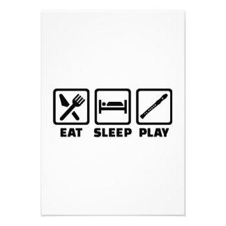 Eat Sleep Play Flute Custom Invitation
