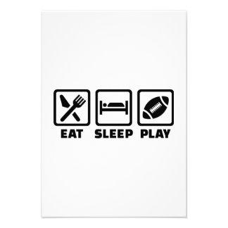 Eat Sleep play Football Personalized Invites