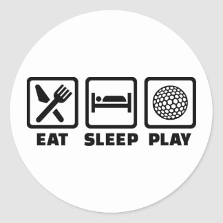 Eat Sleep Play Golf Round Sticker