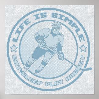 Eat, Sleep, Play Hockey Poster Print
