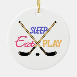 Eat Sleep Play Hockey Round Ceramic Decoration