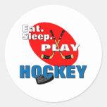 Eat Sleep Play Hockey Round Sticker
