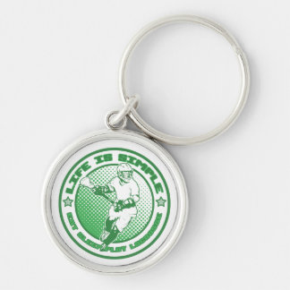 Eat, Sleep, Play Lacrosse Silver-Colored Round Key Ring