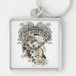 Eat, Sleep, Play Lacrosse Silver-Colored Square Key Ring