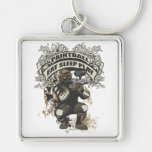 Eat, Sleep, Play Paintball Silver-Colored Square Key Ring