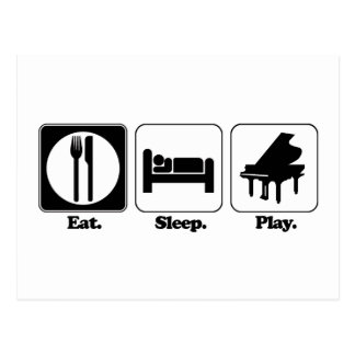 eat sleep play piano postcard