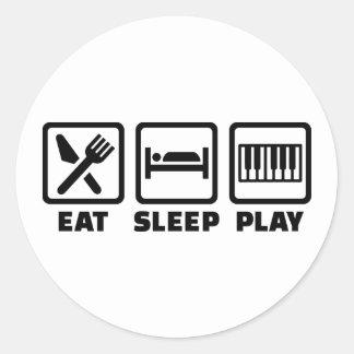 Eat Sleep Play Piano Round Sticker
