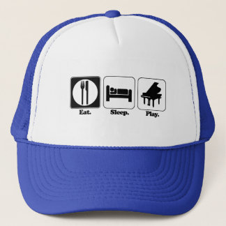 eat sleep play piano trucker hat