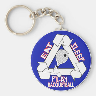 Eat Sleep Play Racquet Ball Basic Round Button Key Ring