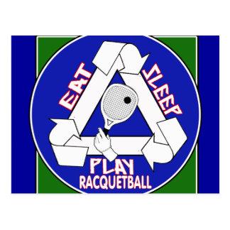 Eat Sleep Play Racquet Ball Postcard