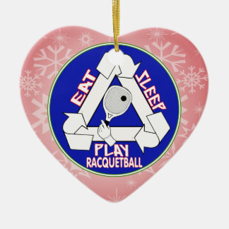 EAT, SLEEP, PLAY RACQUETBALL - REPEAT CERAMIC HEART DECORATION