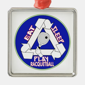 EAT, SLEEP, PLAY RACQUETBALL - REPEAT Silver-Colored SQUARE DECORATION