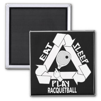 EAT, SLEEP, PLAY RACQUETBALL SQUARE MAGNET