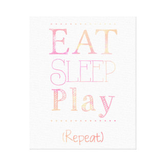 Eat Sleep Play Repeat Funny Kid Toddler Art Canvas