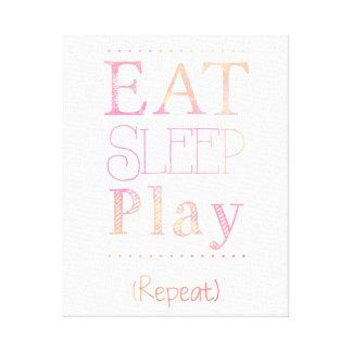Eat Sleep Play Repeat Funny Kid Toddler Art Canvas Canvas Print