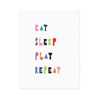 Eat, sleep, play, repeat, nursery art canvas print