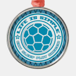 Eat, Sleep, Play Soccer Decoration Silver-Colored Round Decoration