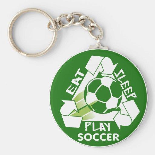 Eat Sleep Play Soccer Keychain