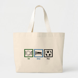 Eat Sleep Play Soccer Large Tote Bag