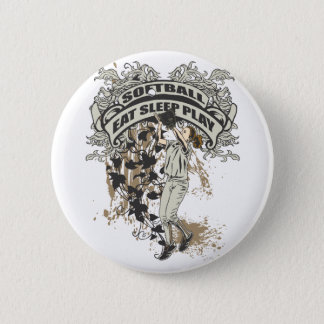 Eat, Sleep, Play Softball 6 Cm Round Badge