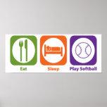 Eat Sleep Play Softball Print
