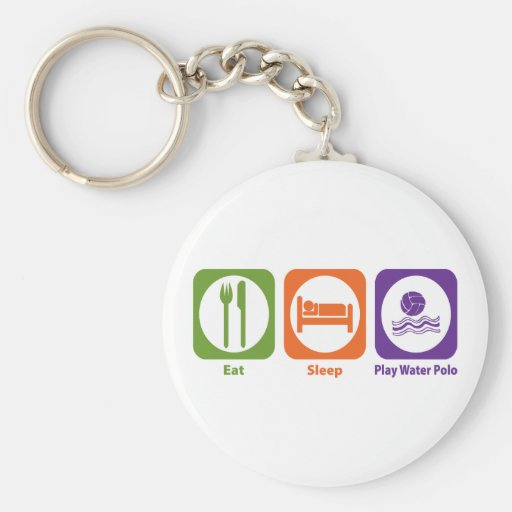 Eat Sleep Play Water Polo Basic Round Button Key Ring