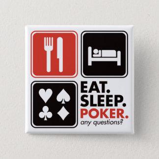 Eat Sleep Poker 15 Cm Square Badge