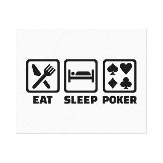 Eat Sleep Poker Stretched Canvas Print