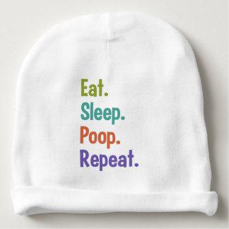 Eat. Sleep. Poop. Repeat. baby hat Baby Beanie