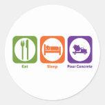 Eat Sleep Pour Concrete Round Sticker