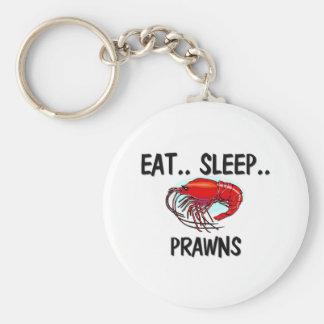 Eat Sleep PRAWNS Basic Round Button Key Ring