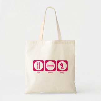 Eat sleep pray pink tote bag