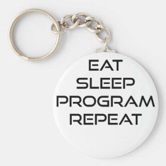 Eat Sleep Program Repeat Basic Round Button Key Ring