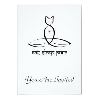 Eat Sleep Purr - Sanskrit style text. 13 Cm X 18 Cm Invitation Card
