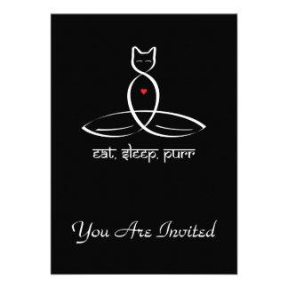 Eat Sleep Purr - Sanskrit style text. Custom Invitations