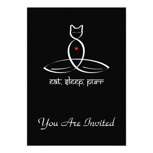 Eat Sleep Purr - Sanskrit style text. Custom Invitations