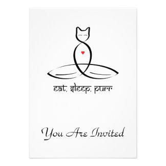 Eat Sleep Purr - Sanskrit style text. Personalized Announcements
