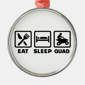 Eat sleep Quad Silver-Colored Round Decoration