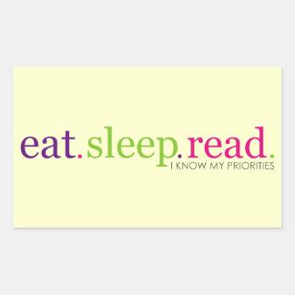 Eat Sleep READ - I Know My Priorities Rectangular Sticker