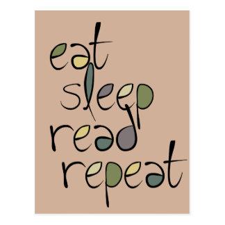 Eat, Sleep, Read, Repeat Postcard