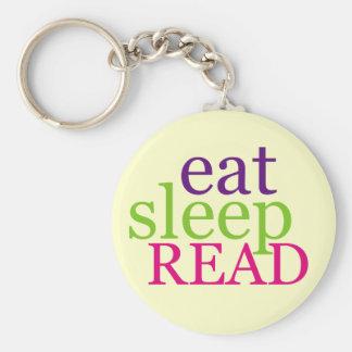 Eat, Sleep, READ - Retro Basic Round Button Key Ring